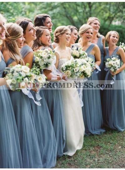 2021 Cheap A Line Tulle Halter Floor Length Bridesmaid Dresses / Gowns