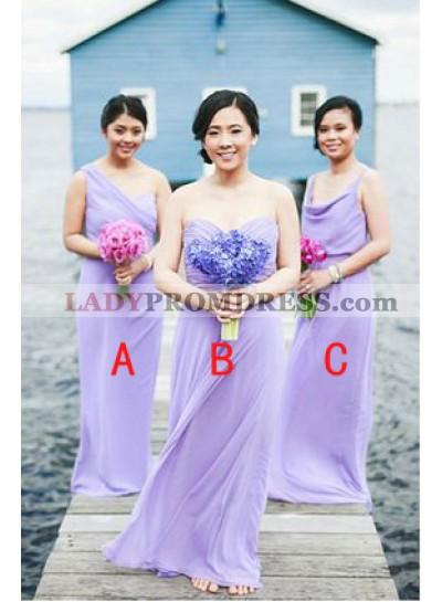 2021 Cheap A Line Lilac Chiffon Floor Length Bridesmaid Dresses / Gowns