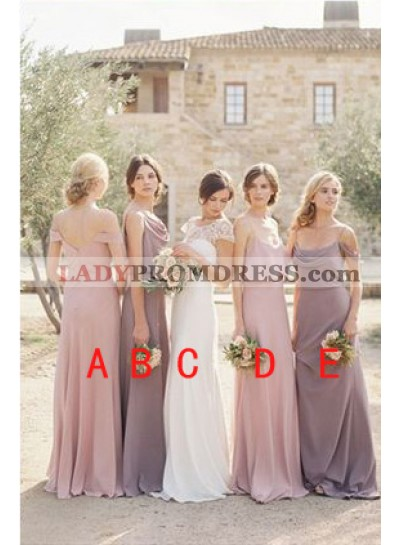 2021 New Arrival A Line Chiffon Floor Length Bridesmaid Dresses / Gowns