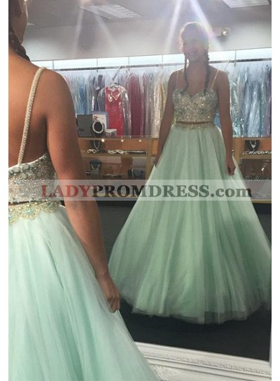 Beading Spaghetti Straps Chiffon Prom Dresses