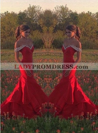 2018 Gorgeous Red Crystal Sweetheart Mermaid/Trumpet Satin Prom Dresses