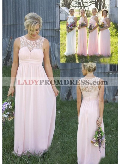 2021 Cheap A Line Chiffon Pink Lace Long Bridesmaid Dresses / Gowns