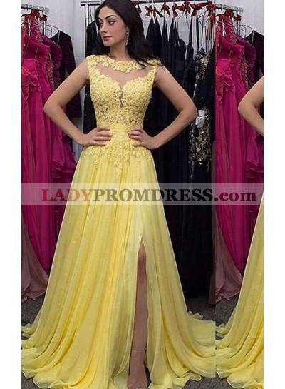 Yellow Sleeveless Split Front Appliques A-Line/Princess Chiffon Prom Dresses