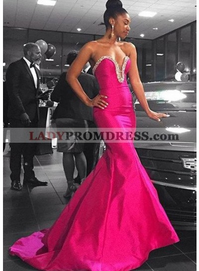 Crystal Sweetheart Mermaid/Trumpet Satin Fuchsia Prom Dresses