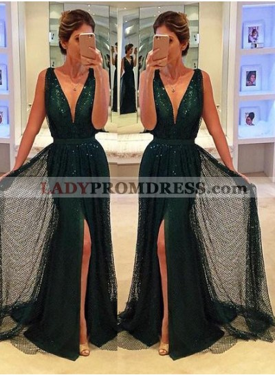 Sexy V-Neck Front-Split Sequined Green Prom Dresses