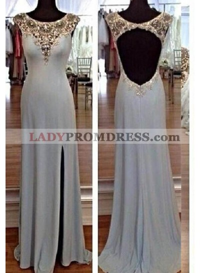 2019 Unique White Beading High-Slit Stretch Satin Prom Dresses