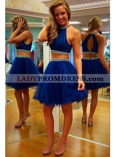LadyPromDress 2019 Blue Elegant Beading Halter Tulle Two Pieces Prom Dresses