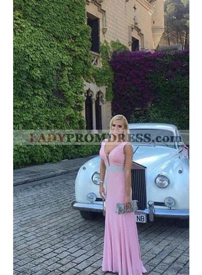V Neck Sleeveless A-Line/Princess Prom Dresses