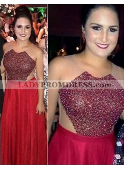2018 Gorgeous Red Prom Dresses Round Neck Sheer Back Beading Chiffon