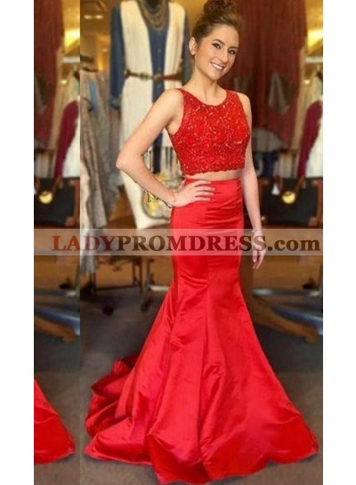 2019 Gorgeous Red Beading Mermaid/Trumpet Satin Two Pieces Prom Dresses