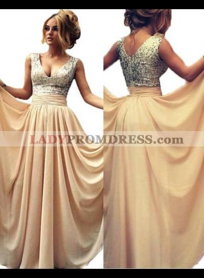 Floor-Length/Long V-Neck A-Line/Princess Chiffon Prom Dresses