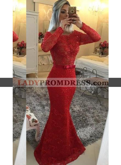 2018 Gorgeous Red Illusion Mermaid/Trumpet Lace Prom Dresses