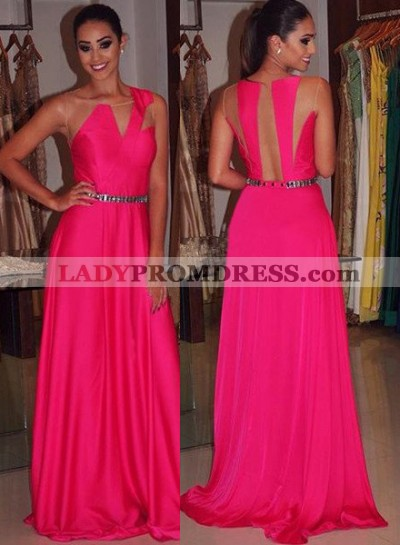 Beading Sleeveless Sheer Back Prom Dresses