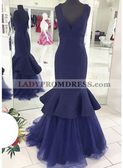 LadyPromDress 2019 Blue V-Neck Ruffles Mermaid/Trumpet Satin Prom Dresses