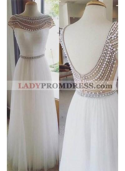 2019 Unique White Beading Bateau Neck A-Line/Princess Tulle Prom Dresses