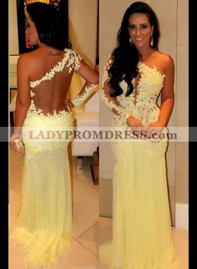 Floor-Length/Long One-Shoulder A-Line/Princess Chiffon Prom Dresses
