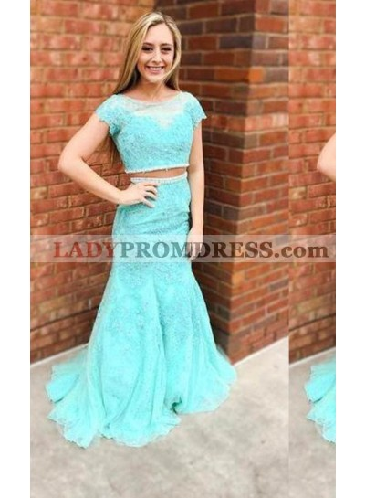 LadyPromDress 2018 Blue Short Sleeves Mermaid/Trumpet Lace Two Pieces Prom Dresses