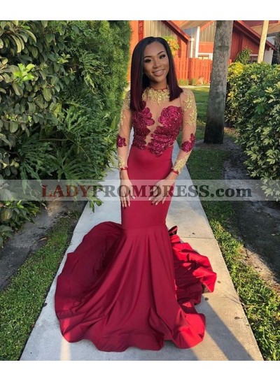 Sexy Mermaid Red Long Sleeves Elastic Satin Women's Prom Dresses With Appliques Long Train