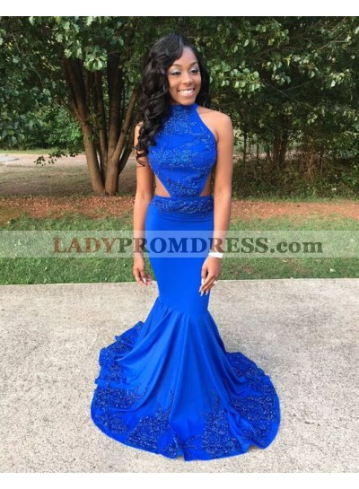 New Arrival Mermaid Backless Royal Blue Chapel Train Prom Dresses With Appliques
