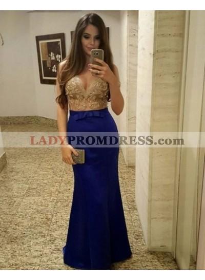 Charming Sheath Deep V Neck Royal Blue Satin Beaded Prom Dresses 2021