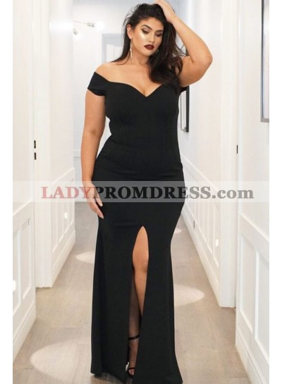 Sexy Black Sheath Off The Should Side Split Sweetheart 2019 Floor Length Plus Size Prom Dresses