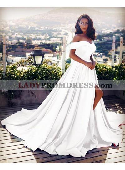 Elegant Off Shoulder White Side Slit Satin Long Train White Prom Dresses