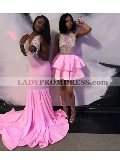 Pink Long Mermaid Elastic Satin V Neck Prom Dresses With Appliques