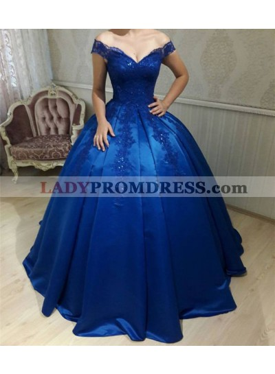 2020 New Arrival Royal Blue Off Shoulder Lace Up Back Satin Sweetheart Ball Gown Prom Dresses