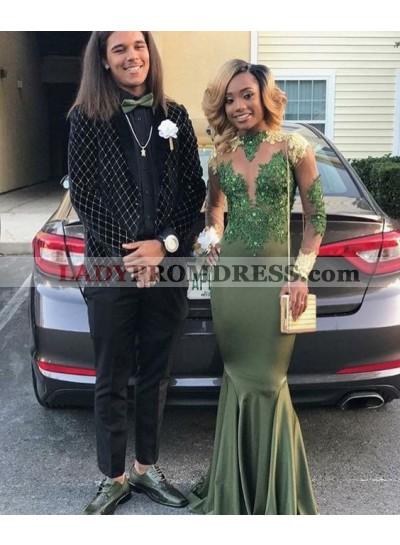 Dark Green Sheath Long Sleeves Elastic Satin Prom Dresses With Appliques