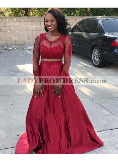 A Line Red Long Sleeves Tulle Two Pieces Transparent Prom Dresses