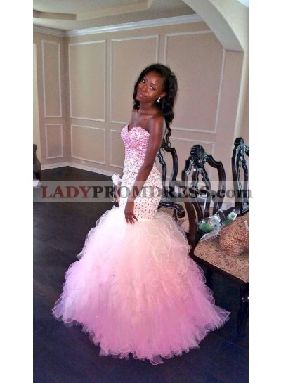 Sexy Sweetheart Mermaid Tulle Ruffles Strapless Prom Dresses With Bead