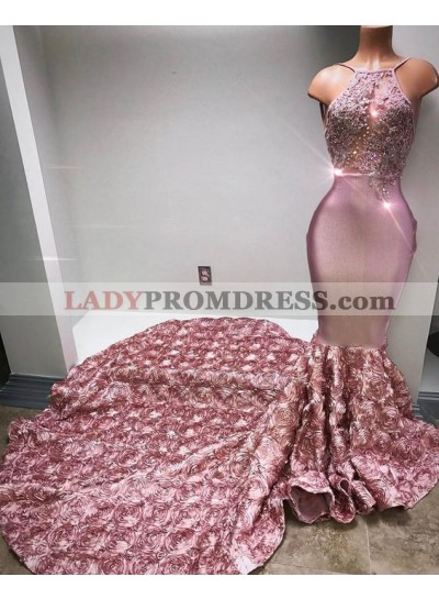 Luxury Dusty Rose Mermaid Backless Rose Decoration Long Train Prom Dresses