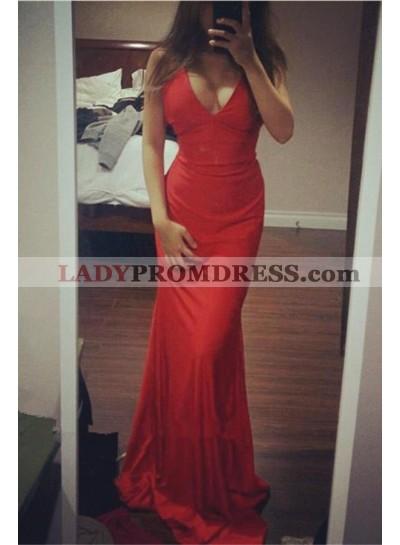 Cheap Red Sheath V Neck Floor Length Prom Dresses