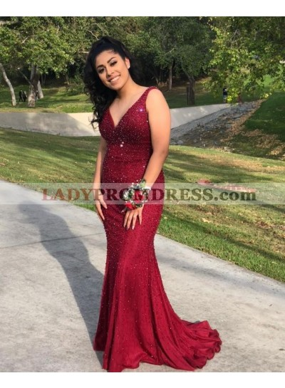 Charming Mermaid Burgundy V Neck Sleeveless With Beaded Prom Dresses 2021