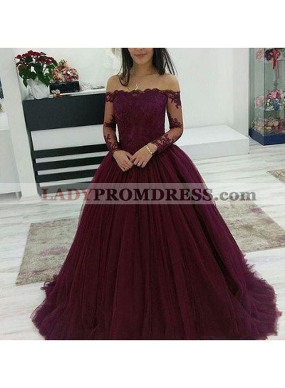 Off Shoulder Burgundy Long Sleeves Tulle Ball Gown Prom Dresses With Appliques