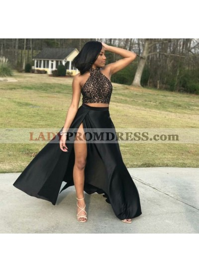 New Arrival Two Pieces High Neck A Line Black Side Slit Prom Dresses
