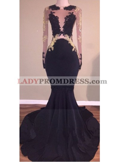 Sexy Black See Through Long Sleeves Tulle Prom Dresses With Appliques