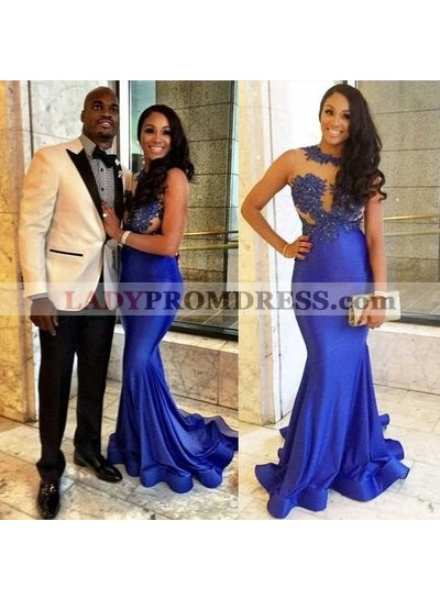 Sexy Mermaid Royal Blue Satin See Through Appliques Prom Dresses