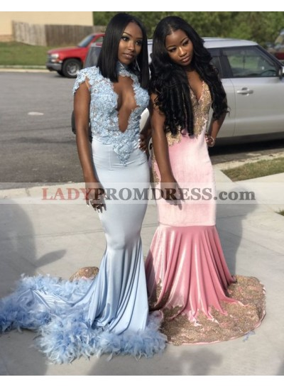 Newly Deep V Neck Blue Mermaid Prom Dresses With Feathers