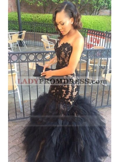 Sexy Mermaid Black Sweetheart Tulle With Appliques Pleated Ruffles Prom Dresses