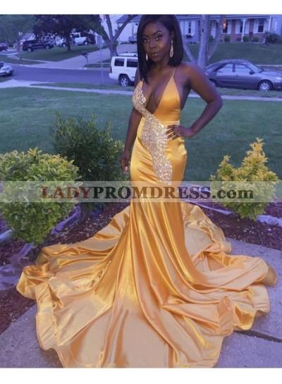 Gold Mermaid Deep V Neck Satin Beaded Halter Prom Dresses With Long Train