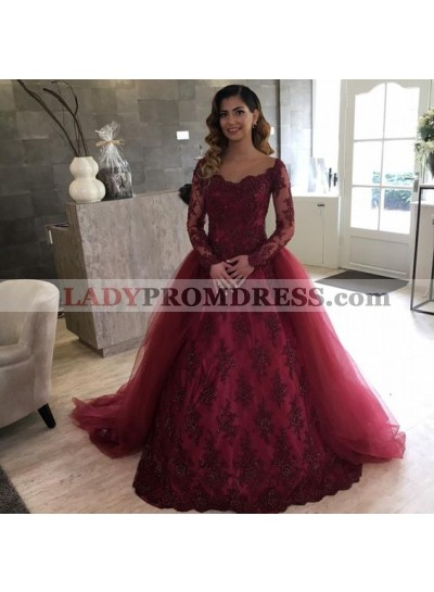 Elegant Burgundy Long Sleeves Lace Tulle Ball Gown Prom Dresses