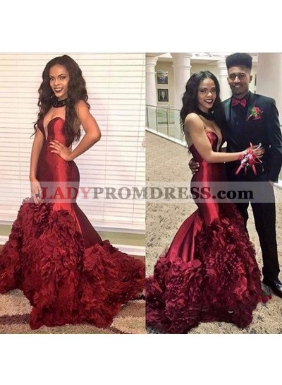 Sexy Burgundy Sweetheart Mermaid Ruffles Pleated Prom Dresses 2020