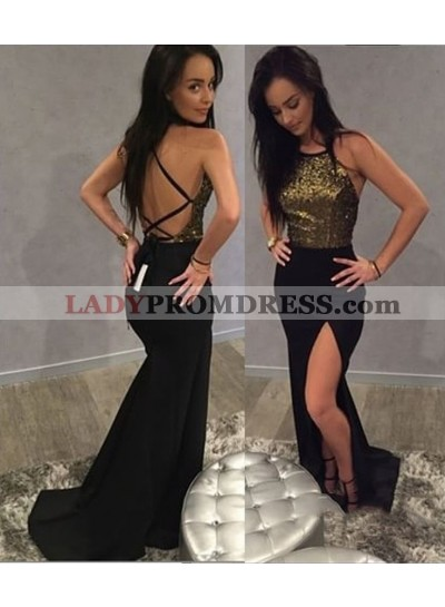 Charming Black Sheath Side Slit Backless Sequence Criss Cross Prom Dresses