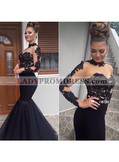 Sexy Black Mermaid Long Sleeves See Through Lace Tulle Prom Dresses