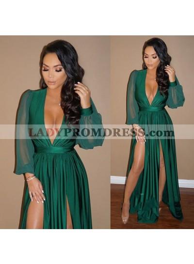Elegant A Line Deep V Neck Long Sleeves Green Side Slit Prom Dresses