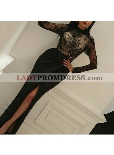 Long Sleeves Black Sheath Side Slit Lace 2021 Prom Dresses