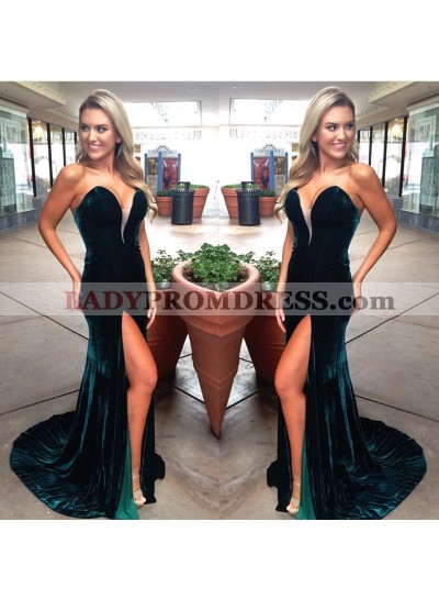 Charming Dark Green Sweetheart Velvet Side Slit Prom Dresses