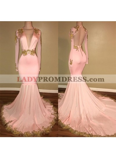 Long Sleeves Blushing Pink Deep V Neck Mermaid Backless With Gold Appliques Prom Dresses