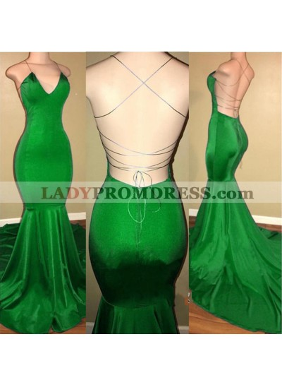 Sexy Mermaid Green Backless Criss Cross V Neck Elastic Satin Prom Dresses